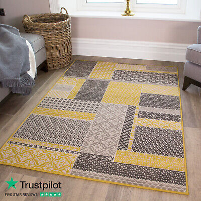 Yellow Ochre Contemporary Patchwork Rug Moroccan Trellis Pattern Living Room Rug