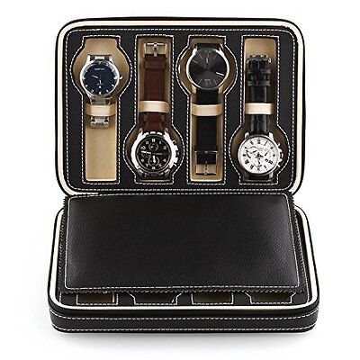 Amzdeal® 8 Grids Watch Display Storage Box Case Tray Zippered Travel Watch Case