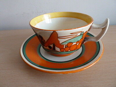Clarice Cliff Tree And House Tea Cup And Saucer