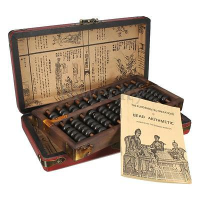 Vintage Chinese Wooden Bead Arithmetic Abacus W/ Dragon & Phoenix Pattern Box
