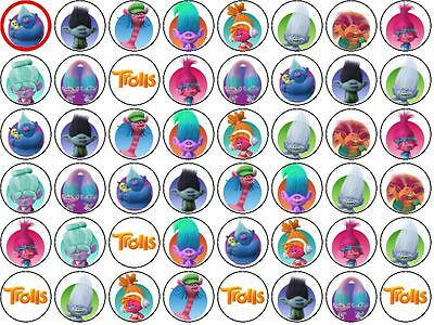 Trolls Movie Birthday Party Wafer Paper Cupcake/Fairy Cake Toppers 48 X 3cm