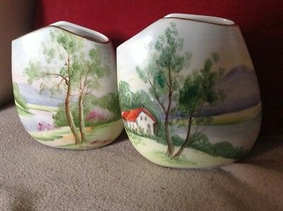 Lovely Pair of Old Porcelain Vases Hand Painted Landscapes Spring and Summer