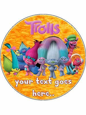 "Trolls Movie Personalised Birthday Edible Icing Cake Topper 7.5"" Round"