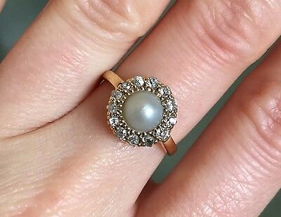 Antique vintage 18ct yellow gold diamond dove grey pearl daisy engagement ring