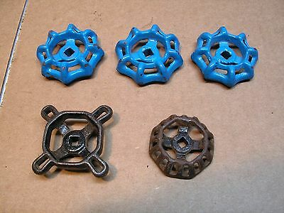 Vintage Valve Handles Water Faucet Knobs Steampunk Industrial Art Steel Lot of 5