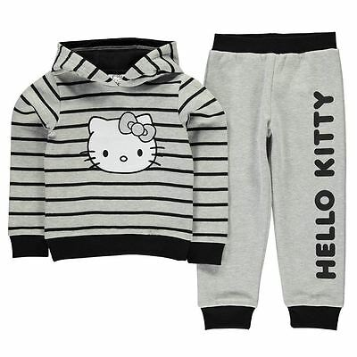 Girls Cute Striped Hello Kitty Full Tracksuit Set Hoody Joggers Ages 2-12 Years