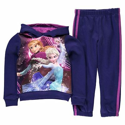 Girls Disney Frozen Anna + Elsa Full Tracksuit Set Hoody Joggers Ages 2-13 Years