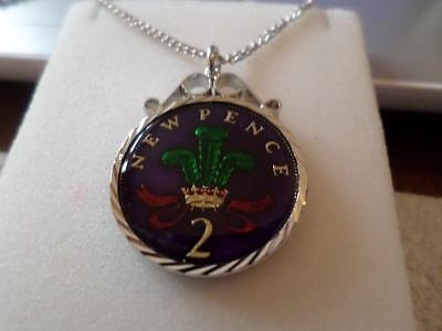 VINTAGE ENAMELLED TWO PENCE COIN PENDANT & NECKLACE 1977. 40th BIRTHDAY GIFT