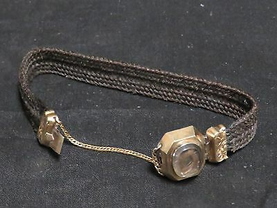 Vintage Victorian Mourning Woven Hair Bracelet Working Clasp Gold-Tone