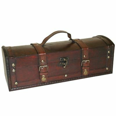 Large Treasure Chest Box - Dark Stain Wood Leather Strap Buckle - Gift Jewellery