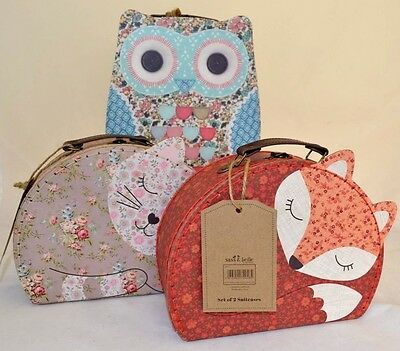 Floral Friends Suitcases Fox Cat Owl Vintage Floral Childs Storage Case