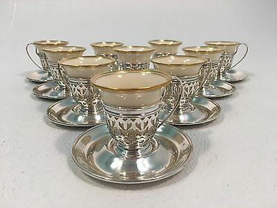 GORHAM Sterling Silver Demitasse Cups LENOX Liners Set of 9 Plus Extra Cups
