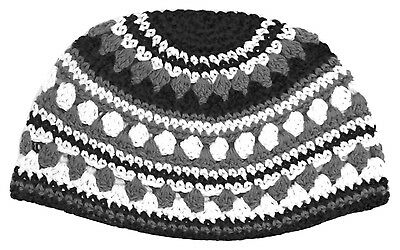 Freak Frik Kippah Yarmulke Yamaka Crochet Black Gray Striped Israel 21 cm