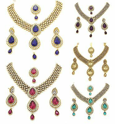 Kundan Stones Necklace Earrings Tikka Set Bridal Wedding Bollywood Jewellery (A)