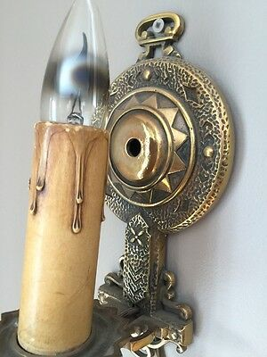 Arts & Crafts Movement Sconce Fixture Brass Bronze Deco Antique Wall Light Lamp