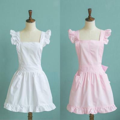 Frilly Victorian Pinnafore Apron For Waitress Downton Costume Pink/White