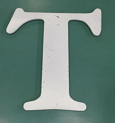 Vintage Aluminum Sign Letter T, 15 Inches Tall, White, Wall Decor, Decoration