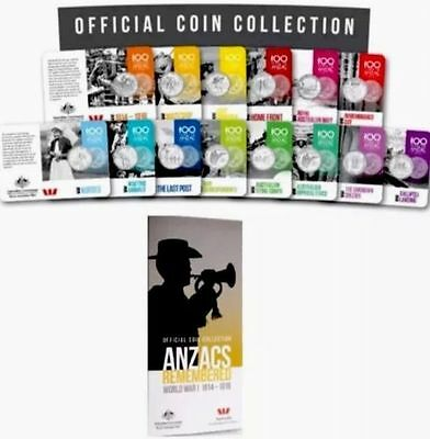 AUSTRALIA 2015 ANZAC REMEMBRANCE 14 x 20c SET PLUS FREE 14 COIN OFFICIAL FOLDER!