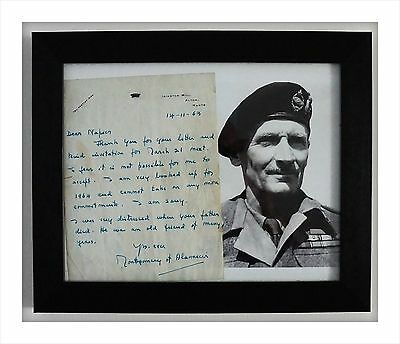 Framed Photograph/Personally Signed Letter From Viscount Montgomery of Alamein.