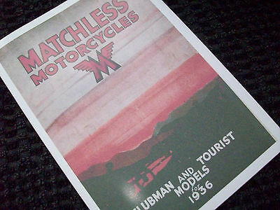 Matchless 1936 Motorcycle Sales Brochures 36/g2, 36/g3, 36/g80 36/f7 36/d5 36/x4