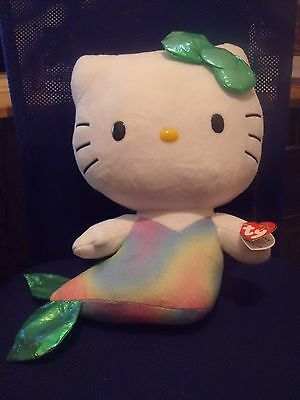 "BNWT Large Hello Kitty Ty Beanie Buddies - Mermaid - 12"" (30cm)"
