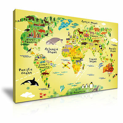 Children's Animal World Map Canvas KIds Wall Art Picture Print 76x50cm