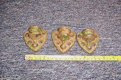 Vintage heavy duty small metal hinge cup/finials x 3 all used see details