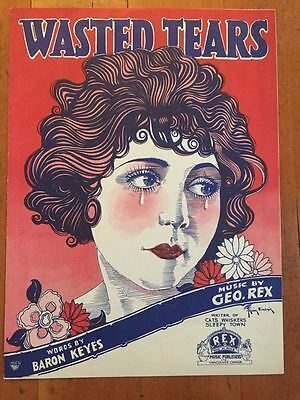 RARE Irving Sinclair Orig SHEET MUSIC POSTER ART Wasted Tears 1924 GIRL FLAPPER