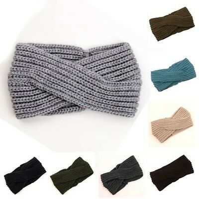 Women's wool mix winter knitted headband boho hipster warm trendy knit hair band