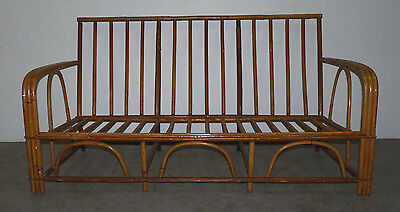 Vintage Rattan Bamboo Mid Century Modern Sofa Couch Paul Frankl Style 120709
