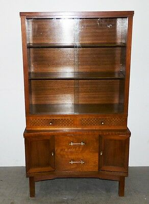 Vintage Mid Century Modern Walnut China Diplay Cabinet Curio Checkered Drawers