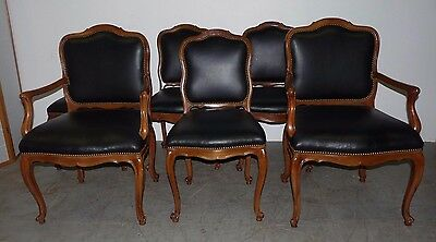 Vintage Set 6 Solid Wood French Provincial Louis XV Vinyl Dining Chairs 121702
