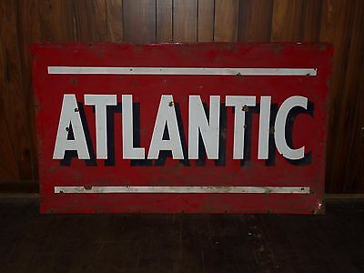 "Large 42"" x 72"" Vintage Metal Double Sided Atlantic Oil Gas Sign - K"