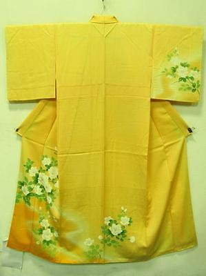Authentic Japanese Kimono Orange Mint Blossom