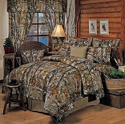 Realtree All Purpose Camouflage - 8 Pc QUEEN Comforter Set & Shower Curtain