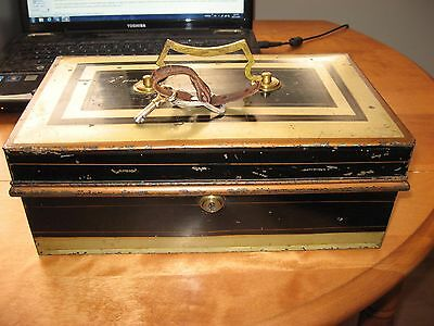 Genuine Antique Bramah lock cash box from 1800's Good condition with key London
