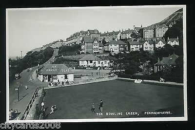 PENMAENMAWR   BOWLS  Bowling Green  with players and view of town   RP