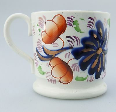 Antique Pottery : A Gaudy Welsh Miniature Tankard C.19thC