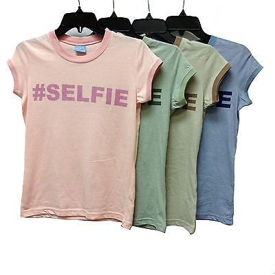 Wholesale lot 48 T-Shirt Tee Juniors Text Design Hashtag SELFIE 65% Cotton
