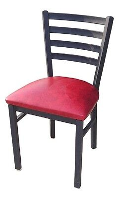 New Black Metal Ladderback Restaurant Chair Furniture With Red Seat