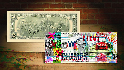 2016 CHICAGO CUBS World Champions Wrigley $2 Bill HAND-SIGNED by Artist RENCY