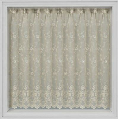 "Kew Gardens Thick Cream Lace Jaquard  Net Curtain 45""48""54"" Drops By The Metre"