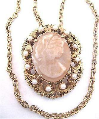 Vintage Signed Florenza Gold Tone Cameo Pendant Brooch Pin Necklace *