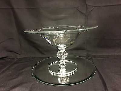 Large Vintage Crystal Glass Compote Dish Czech