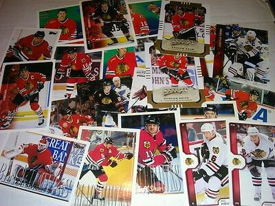 100 ICE HOCKEY CARDS CHICAGO BLACKHAWKS (ONLY 0.03p PER CARD)
