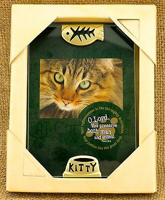 Kitty Cat Frame Glass & Metal with Fish Skeleton  - Perfect Cat Lover Gift!