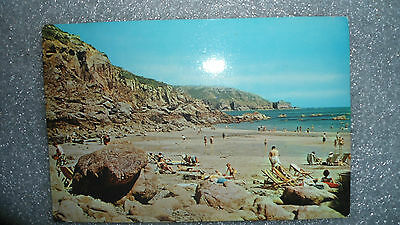 ppc Guernsey Petit Bot Bay Channel Islands England busy beach scene 1970