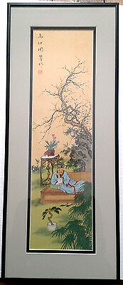 Chinese Landscape Painting On Silk Asian Man Sage Blossoming Tree