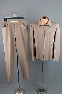 Vtg 50s Mens H Bar C Grey Taupe Wool Western Suit Cowboy sz M 33x30 #1107