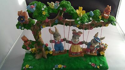 Easter Bunny Rabbit Animal Nature Tree Swing Sculpture by Jaimy Holiday Decor